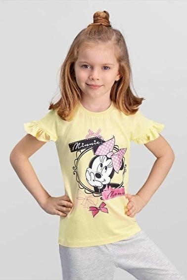 Mickey Mouse Mickey & Minnie Mouse Lisanslı Açık Gri Kız Çocuk T-Shirt Sarı